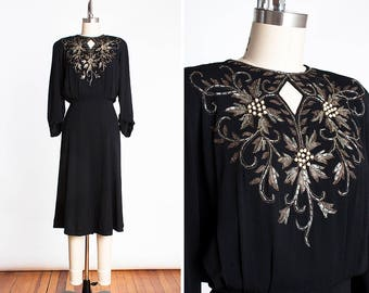 VOLUPTUOUS 1940s Femme Fatale Crepe Rayon Dress with Beaded, Pearl and Gold Lame' Floral Design // Film Noir // Barbara Stanwyck