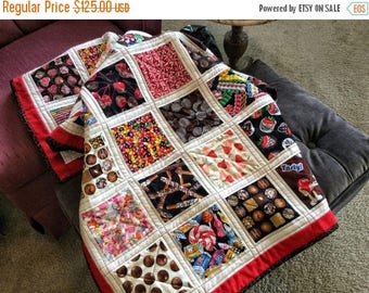 ON SALE Chocolate Anyone?  Ribbon Candy? Jelly Beans?  Colorfull and Sweet Lap Quilt Fruit