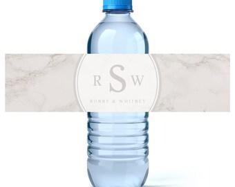 Monogram Water - Monogram Water Labels- Wedding Water Labels - Wedding Favors - Custom Water Bottles Labels Wedding