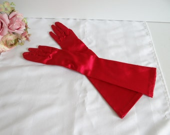 Vintage Dent's English Red Satin Below the Elbow Length Gloves - Small 7.5 - Elegant Gloves - Formal Gloves for Opera Cotillion Prom