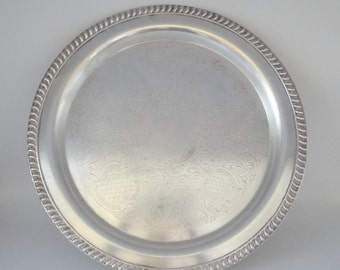 "Vintage Leonard 15"" Silverplate Round Tray with Etched Design and Rope Edge - Elegant Shabby Chic Serving Tray - Tea Tray - Home Decor"