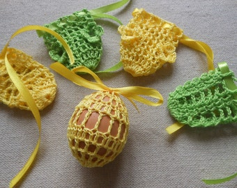 Crochet Easter Egg Cover, Set of 5 Hand Crocheted Easter Eggs Easter Decoration Green Yellow