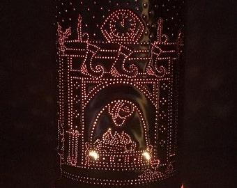 Copper home decor, Christmas lights, stockings, copper, lighting, night before Christmas, lamp, the stockings were hung, Santa, Xmas, Noel