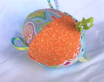 Jingle Fabric Tag Ball Baby Crib Toy Tropical