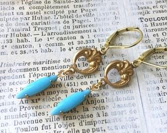 Vintage Turquoise Rhinestone Earrings | Sky Blue Navettes Brass