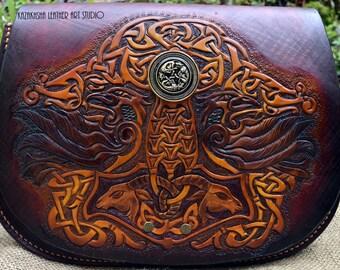 Celtic Thor Hammer Ravens Goats Saddle hand bag from genuine leather bag/saddle bag/shoulder bag, large size