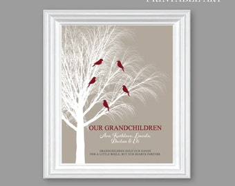 Personalized GRANDPARENTS Art Print GIFT, Our Granchildren // PRINTABLE Digital Download, Grandparent, 8x10 or11x14 Birthday Christmas Gift