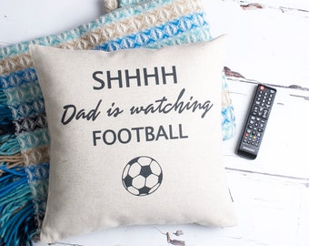 Personalised Watching Football Gift For Him Custom Made Pillow Cushion Cover Quality Linen Cotton