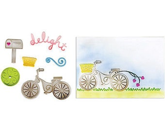 Sizzix Framelits Dies 6/Pkg W/Textured Impressions Folder-Delightful Bicycle