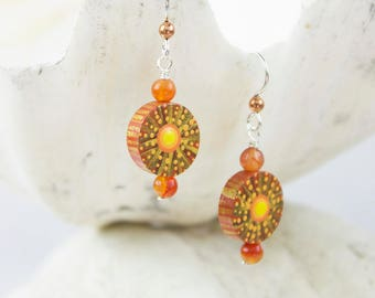 Hand Painted Wood Earrings Yellow Orange and Gold Sunbursts with Carnelian and Copper Beads and Sterling Silver French Ear Wires