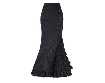 BLACK Victorian Steampunk Flamenco Skirt//Corset Style Fishtail Mermaid Maxi Skirt//Ruffled Long Skirt//2 Colors, Sizes XXS-XXL