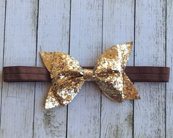 Bronze Glitter Bow Headband