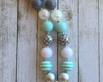 Grey Mint Silver and White chunky beaded necklace with rhinestone pendant