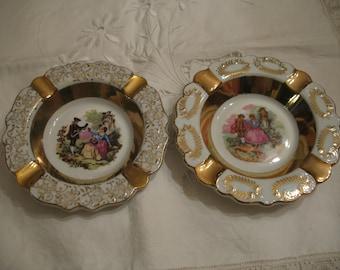 2 vintage porcelain ashtrays
