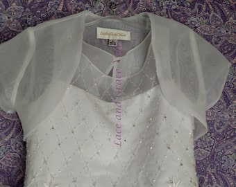 Communion Dress Size 7  with Choice of Handmade Veil (16)