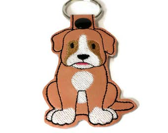Boxer Dog Key Fob, Boxer Key Chain, Boxer gift, dog mom gift, dog dad gift, stocking stuffer, embroidered key fob
