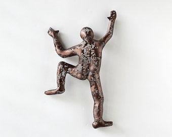 Metal wall art, Climbing man sculpture, Housewarming gift, wire mesh sculpture, Contemporary art