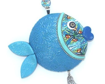 SPRING SALE Wall decor fish, unique fortune fish, lucky fish, fish of fortune, Polymer clay handmade fish in blue, turquoise, green, Rosh Ha