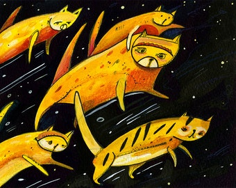 Cosmic Cat Attack Print - Outer Space Print - Cats Print - Kids Room - Giclee Print