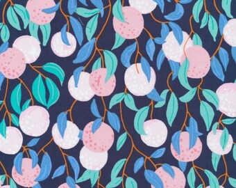 The Bare Necessities by Sarah Watson Bird's Eye View Cloud 9 Fabrics  OE 100 Certified Organic Cotton Pink Blue Fabric Fruit Fabric