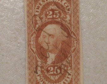 US 1862 Imperf Power of Attorney Revenue Tax Stamp, Scott # R48a, Washington 25 cents.