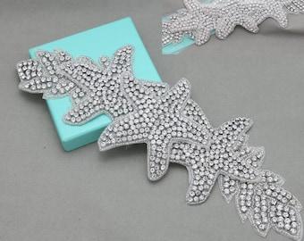 Starfish applique,Starfish leaf applique, Bridal accessories, Rhinestone beaded applique, Beach Wedding dress sash supply - NO RIBBON