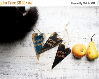 FLASH SALE Mischief managed Halloween party supply guest favors heart ornaments wooden Christmas ornaments Harry Potter