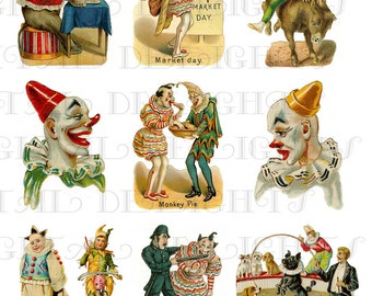 Antique CIRCUS CLOWN Acts! Digital Printable Circus Clown COLLAGE. Digial Clip Art Collage. For All Card Making, Altered Art, Clip Art
