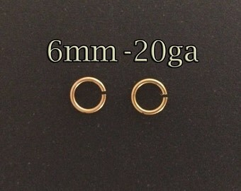 20pcs Gold filled jump rings 6mm 20gauge - gold open jumprings 6mmx0.8mm - yellow gold jumprings - wholesale jewelley findings