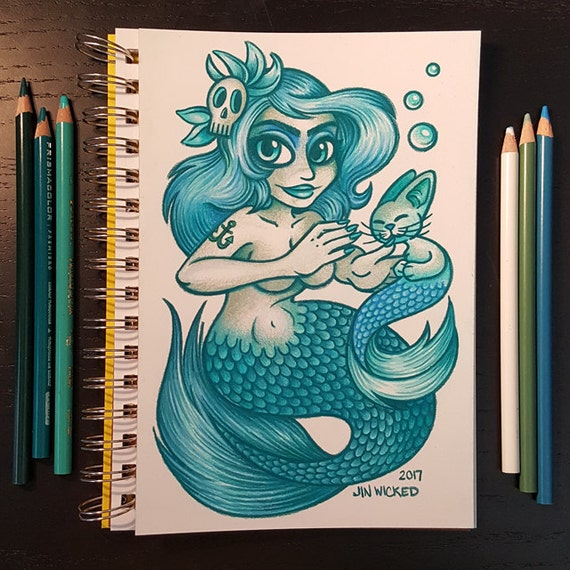 Coloured Pencil Sketch Drawing - Blue and Green Mermaid with Catfish