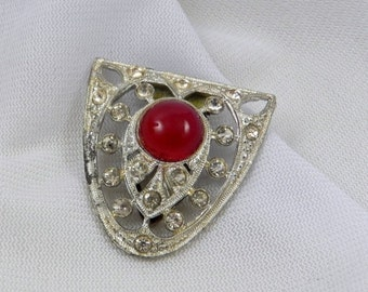 ON SALE 1930's Red Art Deco Dress Clip - Marked PJC