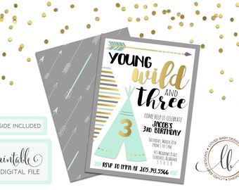 Young Wild and Three Birthday Invitation, Young Wild and 3 Birthday Invitaiton, Third Birthday Invitation, Tribal Invitation - Printable
