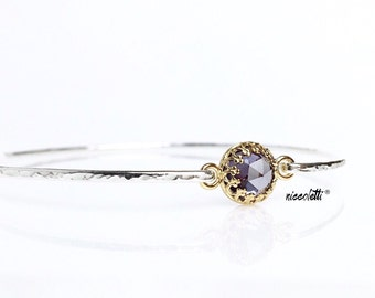 Genuine Alexandrite Bangle Bracelet / June Birthstone Jewelry / Birthday Gift for Wife, Mom, Daughter / 14k Gold Sterling Silver