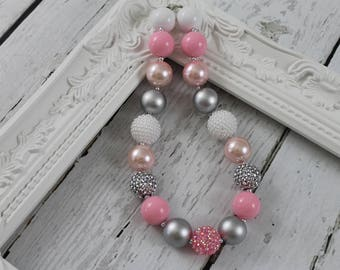 Bubble Gum Necklace Girls Chunky Necklace Pink Grey Chunky Necklace Baby Girls Gumball Necklace 1st Birthday Wedding