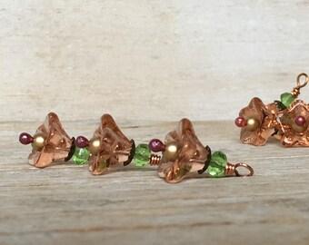 Bead Drop Charms - Glass Bead Dangle - Flower Dangles