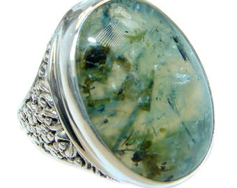 Moss Prehnite Sterling Silver Ring - weight 11.50g - Size 9 - dim L - 1, w - 3 4, T - 1 4 inch - code 18-kwi-17-7