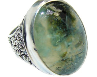 Moss Prehnite Sterling Silver Ring - weight 11.60g - Size 9 1 4 - dim L - 1, W - 3 4, T - 3 16 inch - code 26-lip-16-65