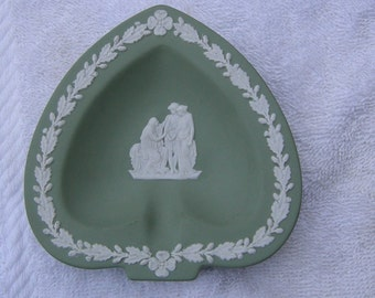 Wedgwood Green Jasperware Heart Shaped Ashtray