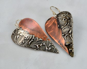 Mixed Metal Brushed Copper and Stamp Textured Silver Solder Heart Earrings