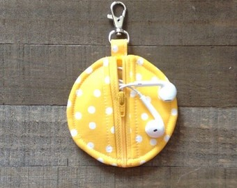 Circle Zip Earbud Pouch / Coin Purse - Yellow and White Polka Dots