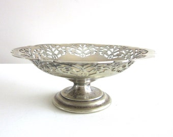 Footed Silver Candy Dish Reticulated Pierce Work Bon Bon Mints Potpourri Made In England