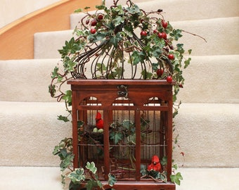 Wooden Birdcage with Red Robins (S17-93)