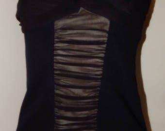Black Boob Tube/Top with Centr Panel at the Front. size UK 10/12