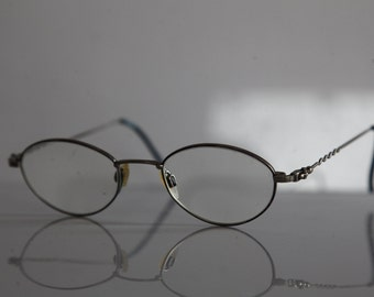 Vintage Silver Frame,  Oval RX Prescription Lenses.