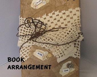LAUGH BOOK ARRANGEMENT Shabby Chic Laugh Sing Live Embellished Book Unique Home Décor Gift Item