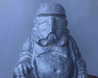 Free shipping!! Storm Trooper Buddha, solid resin. In stock teady to ship.