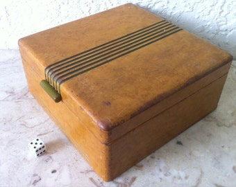 Art Deco Box, Wood Big 8 x 8 x 3 3/4 inches, Streamline Moderne, Green Stripes, Waterfall Edges, Bakelite Handle, Dovetails, Free Shipping