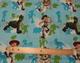2 Yards  Blue Toy Story/Woody/Buzz/Jessie/Dinosaur Running Cotton Fabric