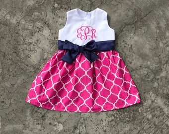 Toddler girl clothes, baby girl easter outfit, easter dresses, monogrammed girl dress, Hot pink lattice and navy sash, spring dress