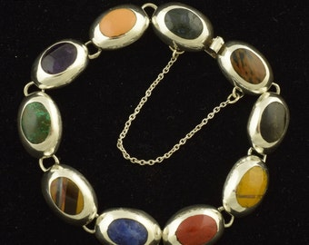Sterling Silver Vtg Mexico Bracelet with Gemstones Lapis Amethyst & More! ~ 1136